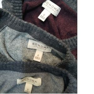 mens small lot 3 crewneck ragland sweater gray red